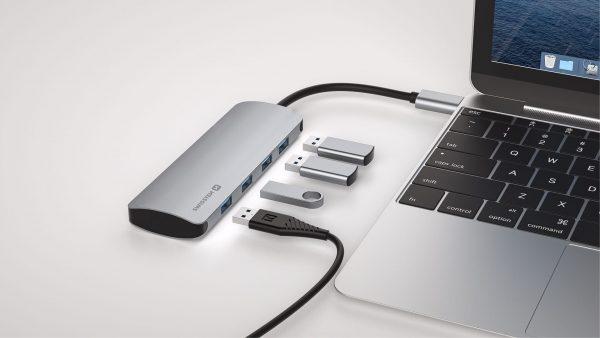 SWISSTEN USB-C HUB 4-IN-1 (4X USB 3.0) ALUMINIUM BODY